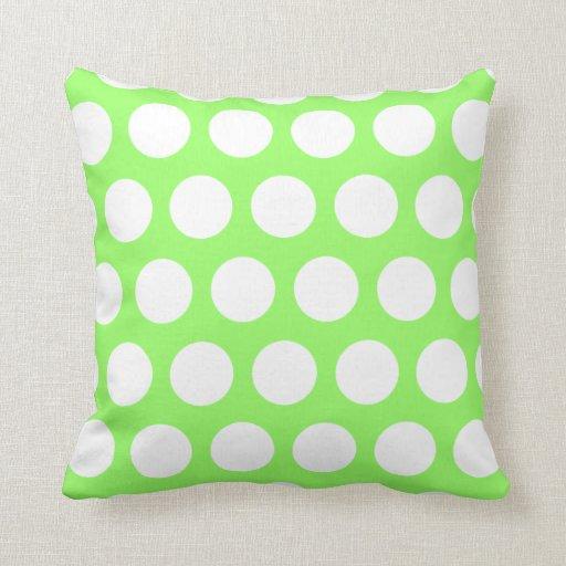 Green and white polka dots throw pillow zazzle for Green and white throw pillows