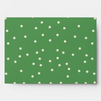 Green and White Polkadot Envelope