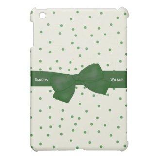 Green and White Polkadots iPad Mini Case