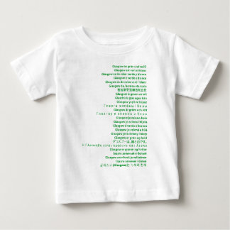 Green and White Polyglot Baby T-Shirt