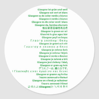 Green and White Polyglot Classic Round Sticker