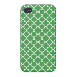 Green and White Quatrefoil Patterns Cases For iPhone 4