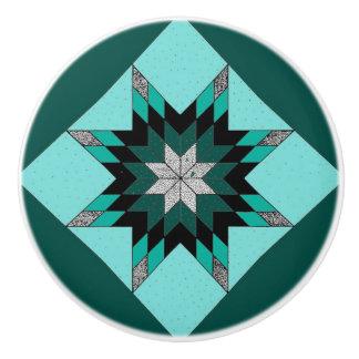 Green and White Quilt Design Knobs Ceramic Knob