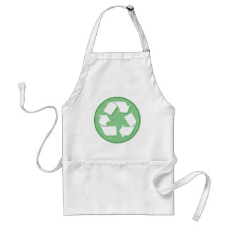 Green and White Recycle Sign Adult Apron