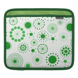 Green and White Retro Circles Pattern iPad Sleeves