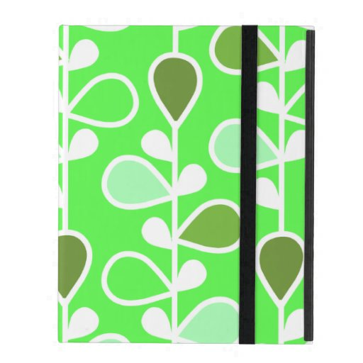 Green and White Retro Flowers iPad Case