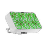 Green and White Retro Flowers iPhone Speakers