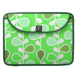 Green and White Retro Flowers MacBook Pro Sleeves
