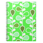 Green and White Retro Flowers Spiral Notebook