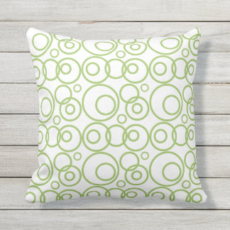 Green And White Rings Pattern Throw Pillow