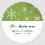 Green and White Snowflake Christmas Address Labels Round Stickers