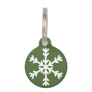 Green and White Snowflake Holiday Dog Pet Tag