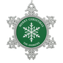 Green and White Snowflake Pewter Christmas Ornament