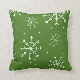 Green and White Snowflake Pillow