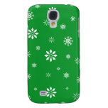 Green and white snowflakes samsung galaxy s4 covers