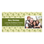 Green and White Snowflakes Holiday Christmas Card Photo Card