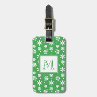 Green and White Snowflakes Pattern 1 with Monogram Bag Tag