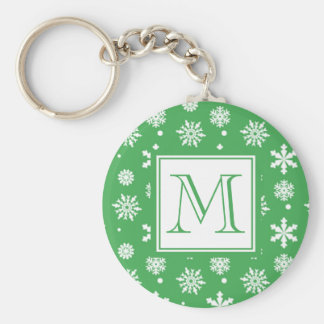 Green and White Snowflakes Pattern 1 with Monogram Basic Round Button Keychain