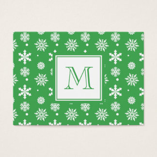 Green and White Snowflakes Pattern 1 with Monogram Business Card