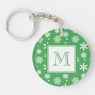 Green and White Snowflakes Pattern 1 with Monogram Keychain