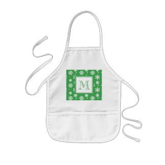 Green and White Snowflakes Pattern 1 with Monogram Kids' Apron