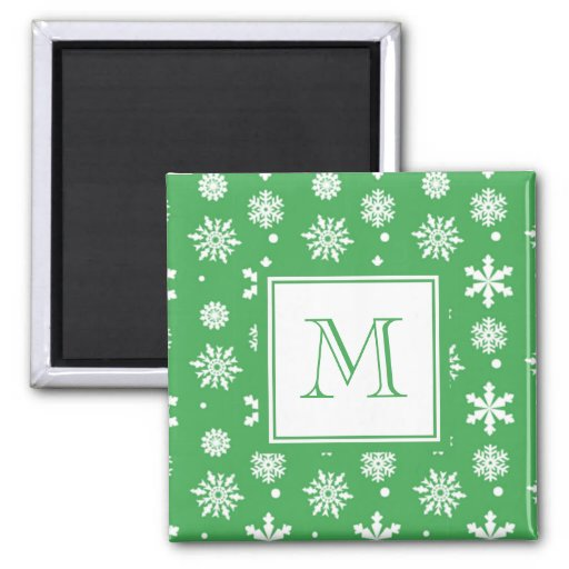 Green and White Snowflakes Pattern 1 with Monogram 2 Inch Square Magnet