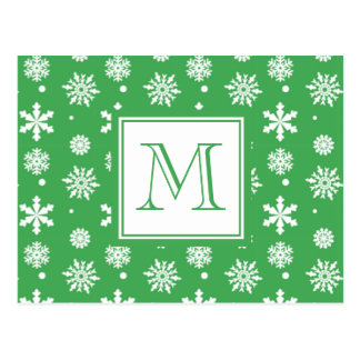 Green and White Snowflakes Pattern 1 with Monogram Postcard