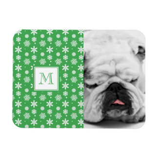 Green and White Snowflakes Pattern 1 with Monogram Rectangular Photo Magnet