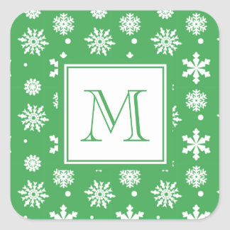 Green and White Snowflakes Pattern 1 with Monogram Square Sticker