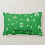 Green and white snowflakes pillow