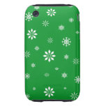 Green and white snowflakes tough iPhone 3 cover
