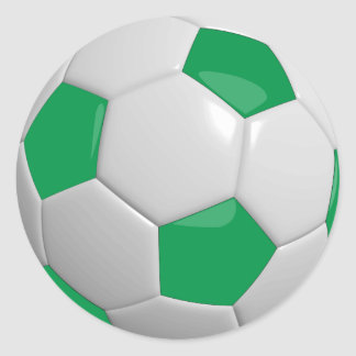 Green and White Soccer Ball Classic Round Sticker