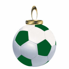 Green and White Soccer Ball Ornament photosculpture