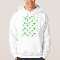 Green and White Soccer Ball Patterns Hoodie
