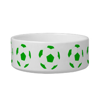 Green and White Soccer Ball Patterns Pet Bowl