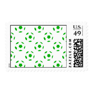 Green and White Soccer Ball Patterns Postage Stamp