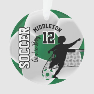 Green and White Soccer Goalie Boy Ornament