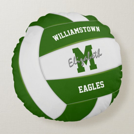 green and white sports team colors volleyball round pillow