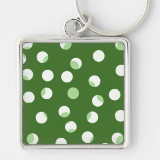 Green and white spotty pattern. keychain