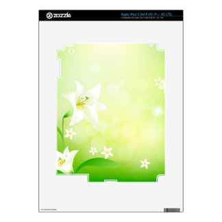 Green And White Spring Lily Background Decals For iPad 3