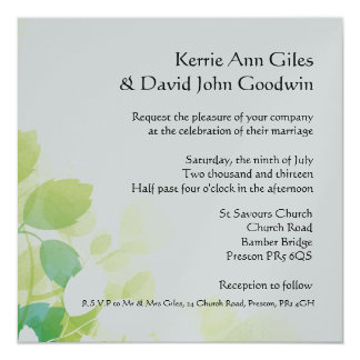 Green And White Square Wedding Invitations, Leaves Card