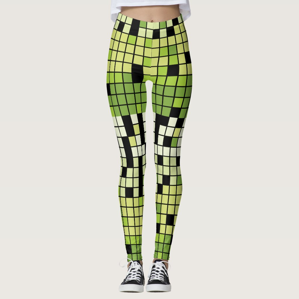 Green and White Squares with Custom Color Leggings
