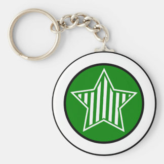 Green and White Star Keychain