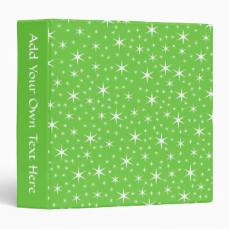 Green and White Star Pattern. 3 Ring Binder