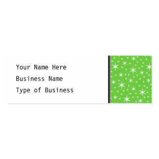 Green and White Star Pattern. Double-Sided Mini Business Cards (Pack Of 20)