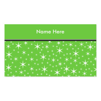 Green and White Star Pattern. Double-Sided Standard Business Cards (Pack Of 100)