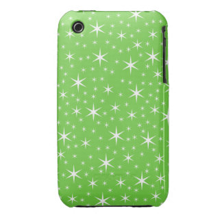Green and White Star Pattern. Case-Mate iPhone 3 Cases