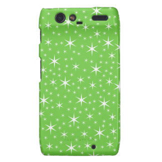 Green and White Star Pattern. Motorola Droid RAZR Cases