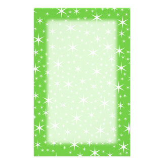 Green and White Star Pattern. Custom Stationery