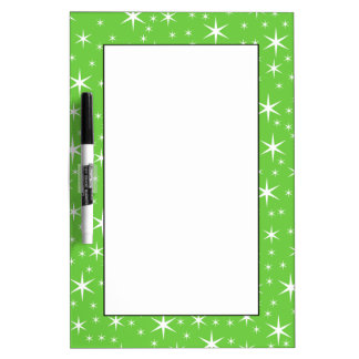 Green and White Star Pattern. Dry Erase Board